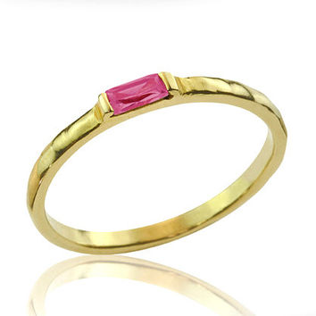 14k Gold Exuberent Baguette Ruby Engagement Ring by netawolpe