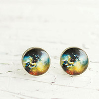 Universe Earrings, Galaxy Earrings, Space Earrings, Silver Color