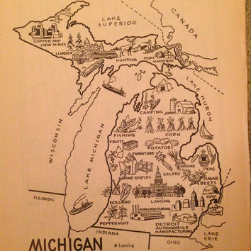 Michigan Map Decor / Vintage Map Print / Michigan Art Print / 1950s Coloring Book Page / MI Map Art / Travel Wall Decor / Map Illustration