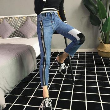 DCCKXT7 Women Casual Fashion Personality Multicolor Zip Bodycon Jeans Trousers