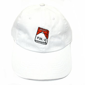 Fuk U Cigarette Box Embroidered Baseball Cap
