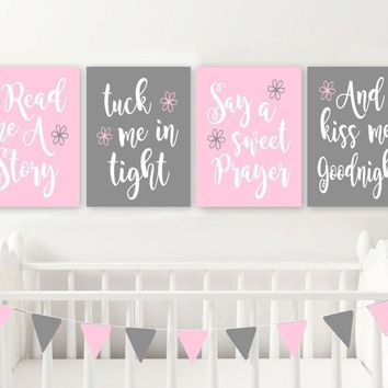 Read Me A Story Kiss Me Goodnight Wall Art, Pink Gray Girl Nursery Wall Art Decor, Girl Quote Bedroom Wall Decor, CANVAS or Prints Set of 4