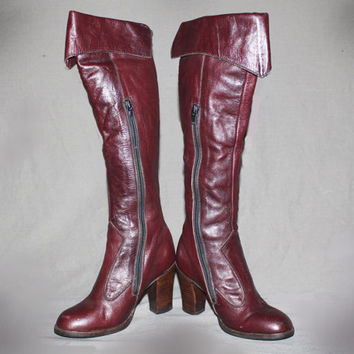 Vintage 60s 70s Knee High Leather Boots / Burgundy Groovy Boots, Boho / Western, Cowgirl Boots / Round Toe / Size us 5, 35 eu, 2.5 uk