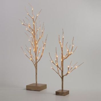 Gold Wrapped Micro LED Battery Operated Tree