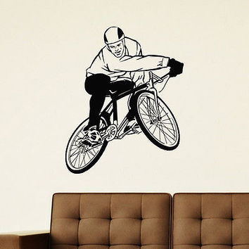 WALL DECAL VINYL STICKER SPORT BOY CYCLING BICYCLE DECOR SB704