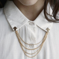 Cross & Chain Collar Pins | Timeless Boutique