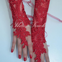 Burgundy gloves fingerless glove bridal glove bridesmaid Burgundy lace gloves elegant gloves, gloves, red gloves