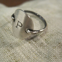 Sterling silver Initial Ring by SoShe on Etsy
