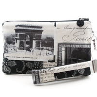 Paris clutch purse in black and white - Arc de Triomphe vintage photos of Paris fabric
