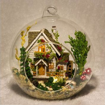 G015 DIY doll house miniatura mini glass ball model building Kits wooden Miniature Dollhouse Toy Gift Forest Villa free shipping