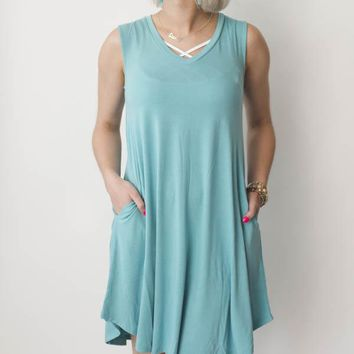 V-Neck A-Line Dress - Ash Mint