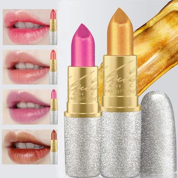 2017 New Fashion Glitter Lip Color Cosmetics Waterproof Makeup Pigment Nude Pink Long Lasting Gold Shimmer Lipstick Kit