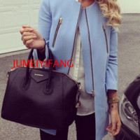 2016 autumn and winter fashion simple blue color in the explosion of zipper jacket