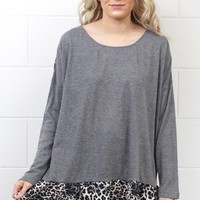Leopard Back + Ruffle Knit Sweater {Charcoal}
