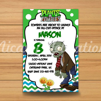 Plants vs Zombies Design Invitation - Digital File