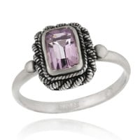 Sterling Silver Genuine Amethyst Ring Size 8