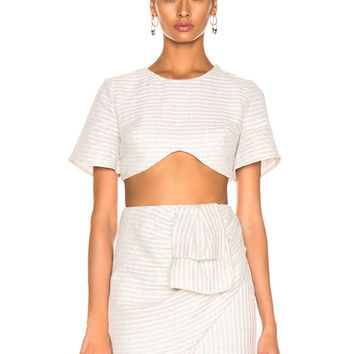 Atoir Mess Is Mine Crop Top in Grey & White Stripe | FWRD
