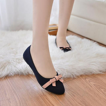 New Summer 2017 ladies Butterfly Flats Women Blue Ballet flats Shoes foldable Rubber Soles Women Pointed Toe Flats Bow Size35-40