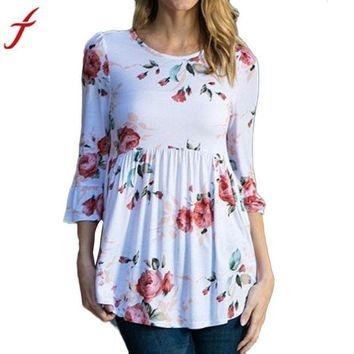 VONE05F8 Womens Sexy Ruffled Blouse Flare Sleeve Floral Printing Tops Three Quarter Elegant Blouse Summer Women Shirts