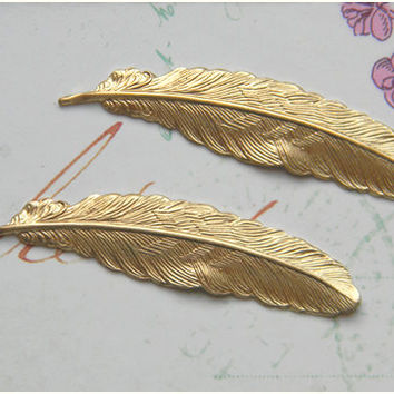 Raw Brass Feather Stamping 12mm x 53mm - 4 pcs