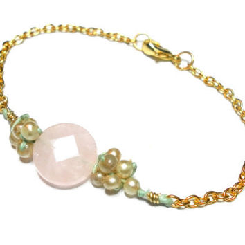 Gold plated chain woven beaded friendship bracelets - faux vintage pearls mint floss pink faceted quartz  simple delicate valentine's day