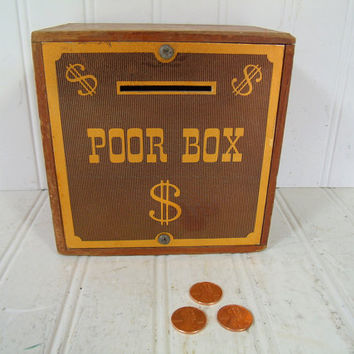 Vintage Church Poor Box for Donations - Old Wooden Bank or Lock Box Charity Collections; Worn Wooden Square Box for Church Money Collection