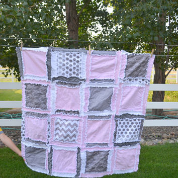 Baby Blanket Rag Quilt in Pink, White, and Gray, Ready to Ship 1 Business Day