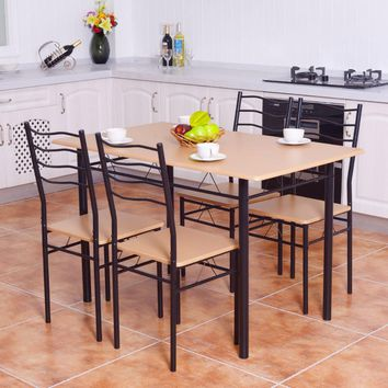 Wooden Top 5 Piece Modern Style Dining Table