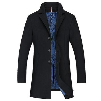 Turn Down Collar Long Wool Winter Coat Men