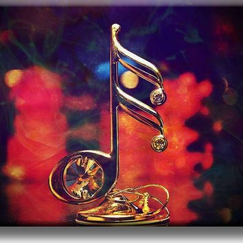 Big Music Note, Gold Music Note Picture on Stretched Canvas, Wall Art Decor, Ready to Hang