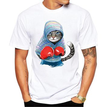 New Arrivals 2017 Fashion Men T Shirt cat Printed t-shirt Short Sleeve Casual Tops Summer Tee