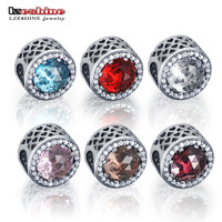 LZESHINE Authentic 925 Sterling Silver Radiant Hearts Red Color Clear CZ Charm Beads Fit European Bracelet Jewelry