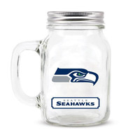Seattle Seahawks NFL Mason Jar Glass With Lid