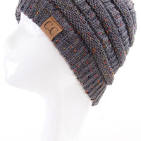 C.C. Knit Confetti Beanie-Dark Grey