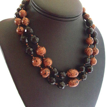 Black Crystal & Speckled Glass JOSEF MORTON Necklace, Multi 2 Strand, Rare Vintage