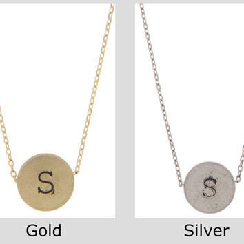 Circle Charm Necklace Initial Necklace Jewelry Personalized monogram Gold Silver Initial Necklace - By PiYOYO