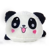 Leegoal Cute Love Heart Lying Plush Stuffed Panda Toy Pillow,Black White