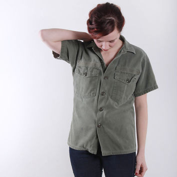 Vintage Military Shirt . Khaki Green T Shirt by VeraVague on Etsy
