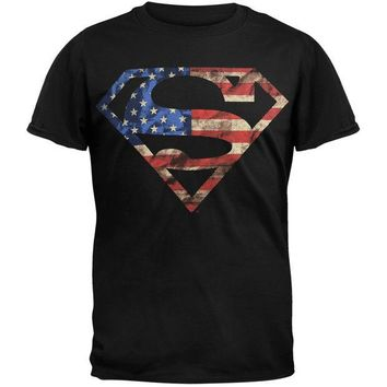 DCCKU3R Superman - American Flag Logo T-Shirt