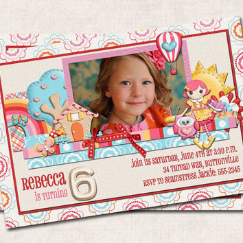 LaLaLoopsy Birthday Party Invitation, lalaloopsy inspired, pink red blue yellow, dolls, you-print (Digital File)