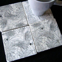 Spiderweb Coasters, Set of 4, Ready to Ship