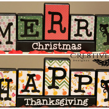 Reversible Thanksgiving/Christmas Wood Blocks Decor ~ Happy Thanksgiving and Merry Christmas