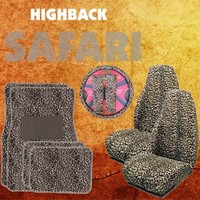 - 	 9pc Safari Tan Cheetah Print Car Floor Mats, High Back Seat Covers, Steering Wheel Cover & Shoulder Pad Set
