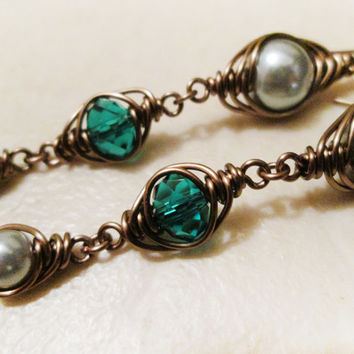 Herringbone Gun Metal Wire Wrapped Glass Pearl & Green Swarovski Crystal Earrings