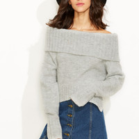 Grey Fold Over Off The Shoulder Sweater