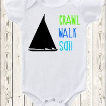 Sailing Onesuit ® brand bodysuit or shirt / Crawl walk sail  Sail boat  Baby shower gift / Nautical theme / Sailor baby outfit / boy or girl