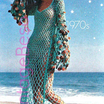 Women's Crochet Pattern PDF Vintage - Sea Goddess Dress - Beach Cover Up - Retro Crochet Pattern - Instant Download