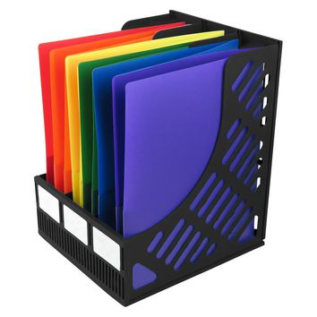 Evelots 3-Compartment Magazine and Literature File Holder Display, Black