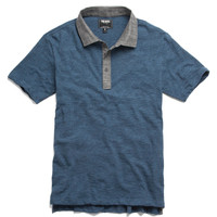 Chambray Collar Polo in Indigo