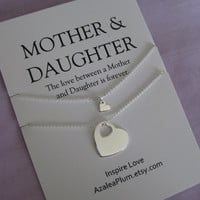 MOTHER Daughter Jewelry. Mother Daughter Necklace Set // Mother Daughter // inspirational Jewelry // Simple Delicate Sterling Silver